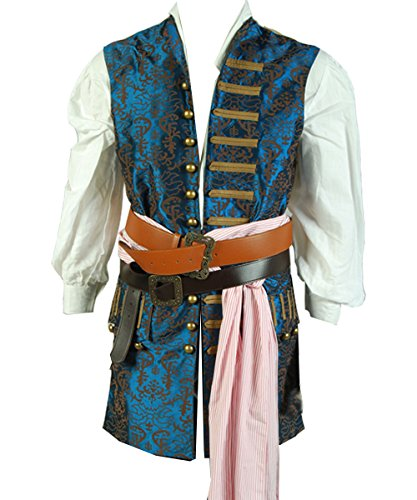 Men's Pirate Captain Costume Adult Halloween Cosplay Vest Large ()