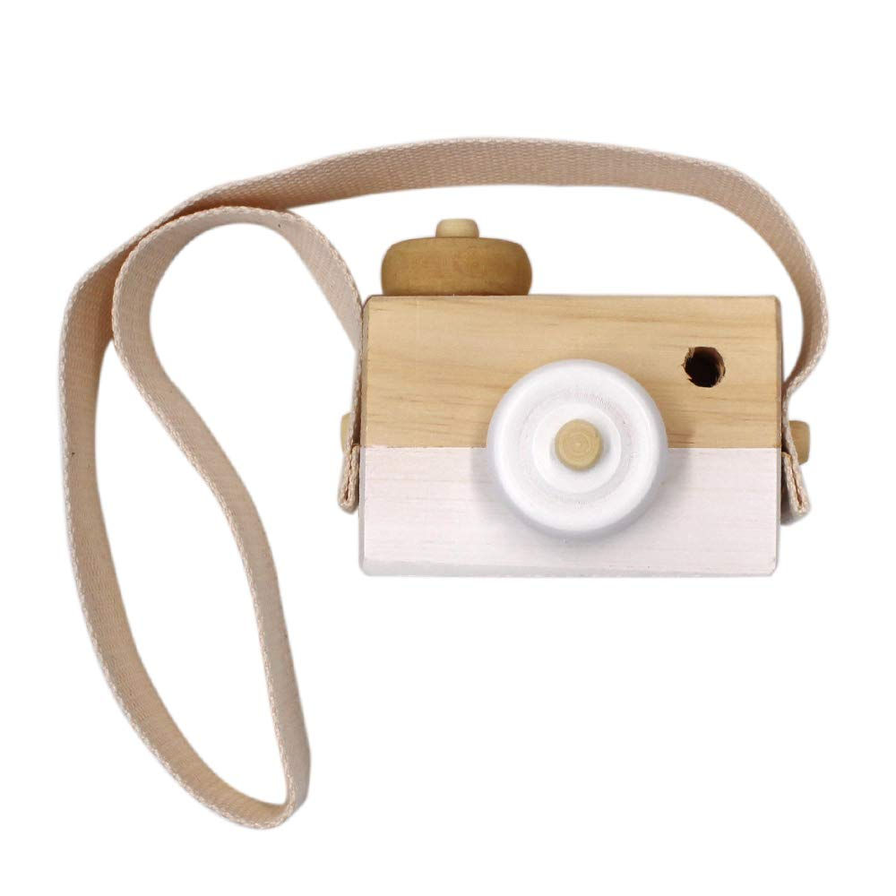 Allure Maek Wooden Mini Camera Toy Pillow Kids' Room Hanging Decor Portable Toy Gift (White)