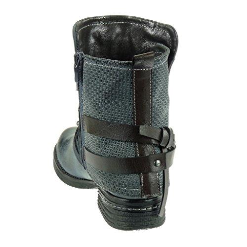 Angkorly - damen Schuhe Stiefeletten - Biker - Reitstiefel - Kavalier - bi-Material - Multi-Zaum - Nieten - besetzt - Geflochten Blockabsatz 3 CM Grau
