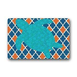 """Moroccan Quatrefoil and Tortoise Non-Slip Indoor or Outdoor Door Mat Doormat Home Decor Rectangle - 23.6""""(L) x 15.7""""(W),3/16"""" Thickness"""