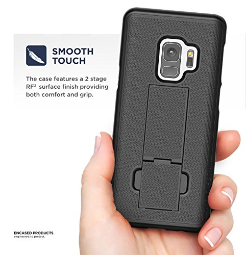 Galaxy S9 Belt Clip Case, Encased [DuraClip] Slim Fit Holster Shell Combo (w/ Rubberized Grip Finish) For Samsung Galaxy S9 - 2018 Release (Smooth Black)