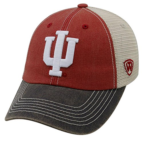 Top of the World NCAA Indiana Hoosiers Offroad Snapback Mesh Back Adjustable Hat, One Size, Crimson/Grey/Khaki