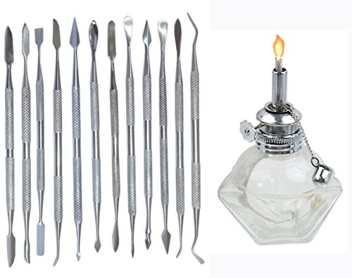 WAX CARVING TOOLS SET OF 12 IN A ROLL UP POUCH & ADJUSTABLE ALCOHOL LAMP