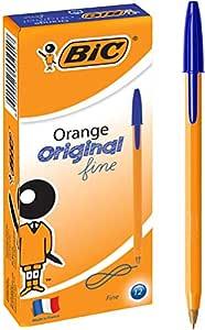 BIC Orange Fine Ball Pens (0.8 mm) - Blue, Box of 12