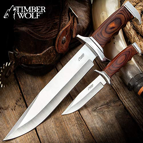 Timber Wolf Two-Piece Trekker Knife Set and Sheath - Stainless Steel Blades, Pakkawood Handles, Stainless Steel Guard and - Pakkawood Blade Handle