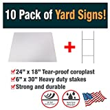 10 Pack of Blank Yard Signs - Made with Tear-Proof 18x24 Inch Coroplast - Heavy Duty H-Stakes Included - Great for Promoting Your Business, Open House, For Rent, Garage Sale, Elections, and Birthdays!