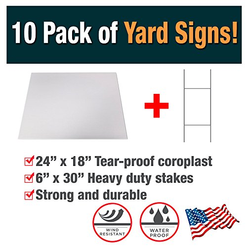 10 Pack of Blank Yard Signs - Made with Tear-Proof 18x24 Inch Coroplast - Heavy Duty H-Stakes Included - Great for Promoting Your Business, Open House, For Rent, Garage Sale, Elections, and Birthdays! by Advertising Signs