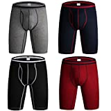 Kuilleckt Men's Breathable Soft Cotton Solid Boxer Briefs,Lightweight Open Fly Underwear, Long Leg Underwear (F:Pack of 4,Multicolored, X-Large(40''-42'' Waist Tag 3XL))