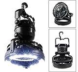 LED Tent Camping Ceiling Fan ,KuGi ® 2 in 1 Multi-functional 18 LED Camping Tent Lamp with Ceiling Fan Weather Resistant Lantern light (Camping fan) (Black)
