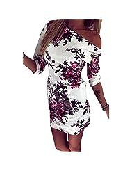 Donalworld Women Summer Printed Ethnic Sexy Party Club Bodycon Dress White Asia Size S