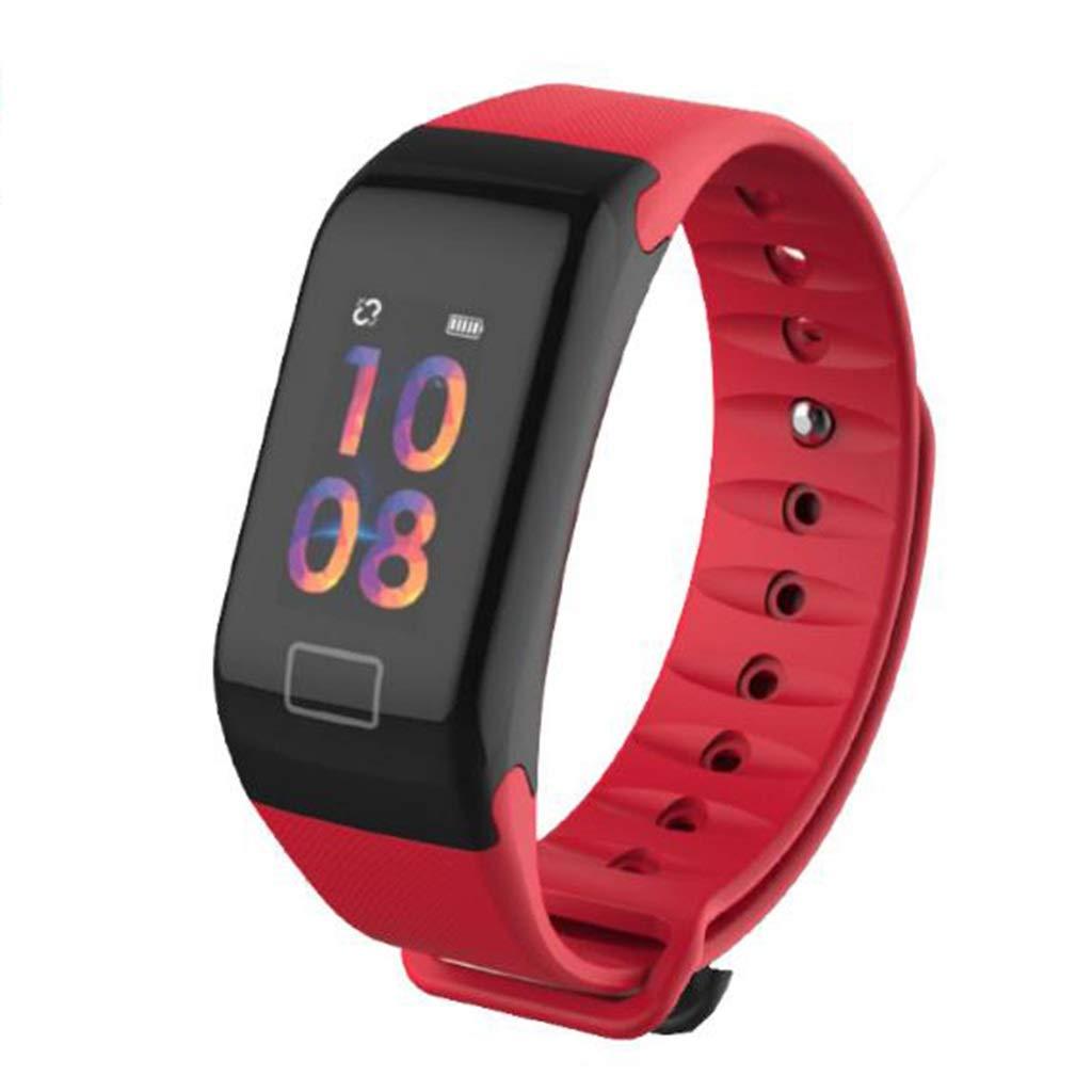 Qiyi Smart Sports Bracelet,Color Screen Smart Bracelet Health Monitoring Smart Bracelet, Heart Rate Sports Step Bluetooth Waterproof Smart Bracelet (Color : Red)