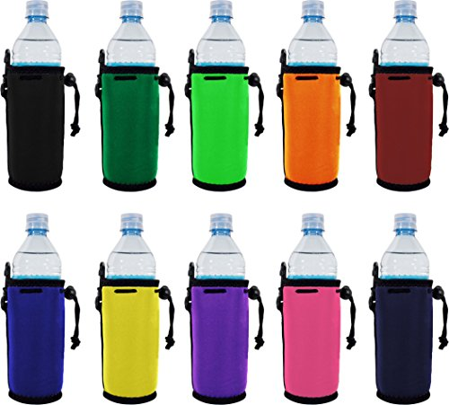 Water Bottle Koozies - Blank Neoprene Water Bottle Coolie(s) with Full Bottom (10, Various)