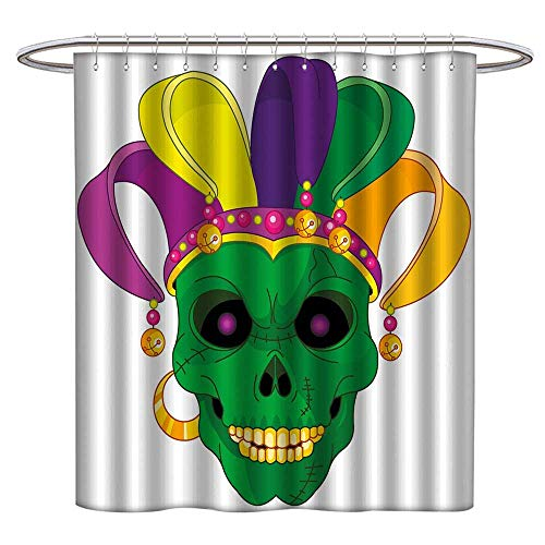 Anyangeight Mardi Gras Shower Curtains Waterproof Scary Looking Green Skull Mask with Carnival Hat Beads and Earring Cartoon Style Fabric Bathroom Decor Set with Hooks W69 x L75 Multicolor