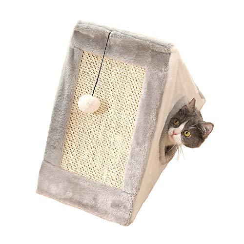 - HEHEDA Cat Tree Fold Condo Plush Perch Kitty Activity Center Kitten Play House (21 x 20 x 10 inches, Light Gray/White)