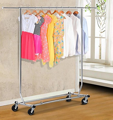 Topeakmart Silver Commercial Heavy Duty Clothing Garment Rolling Collapsible Rack Hanger 250lbs Load Capacity