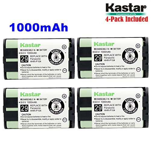 Kastar HHR-P104 Battery (4-Pack), Type 29, NI-MH Rechargeable Cordless Telephone Battery 3.6V 1000mAh, Replacement for Panasonic HHR-P104 HHR-P104A,23968 439024 439025 439026 439030 439031,KX-FG6550 K