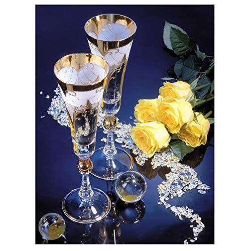 Diamond Painting by Number Kit for Adults | Beautiful Embroidery Full Drill 58x43 Crystal Gold Roses & Champagne Glasses | Perfect Project for Any Art Craft Lover