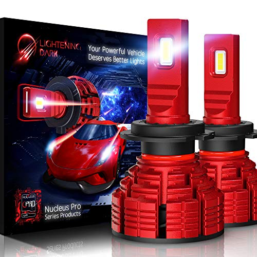 LIGHTENING DARK H7 led headlight bulb, 16000 Lumens Extremely Bright Pro Conversion Kit - 6500K Cool White, Adjustable Beam