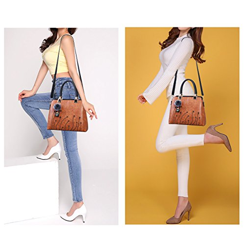 Women Purses and Handbags Top Handle Satchel Shoulder Tote Bags Fashion Leather Girls Crossbody Bag by PINCNEL (Image #7)