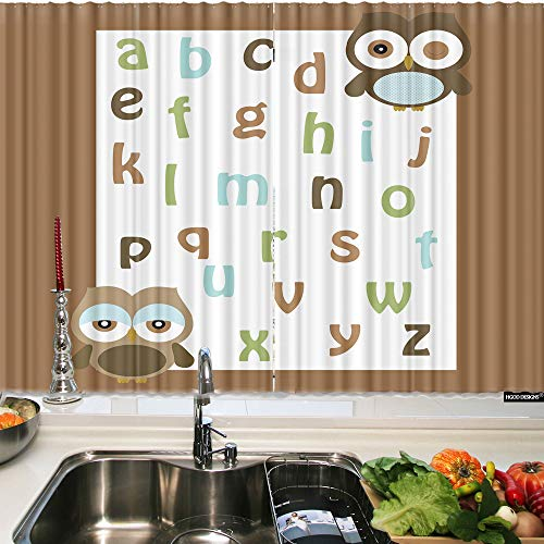 (HGOD DESIGNS Kichen Window Curtain Owl,Inspirational Alphabets with Cute Owlskitchen Valances for Waterproof Windows Curtain Sets for The 2 Panels)
