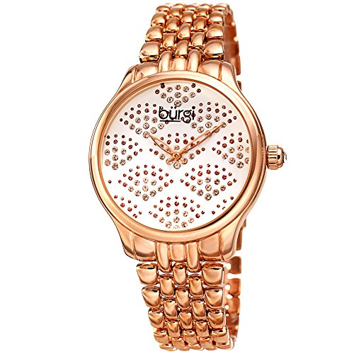 Burgi Sparkling Black Dial with Swarovski Crystals - Stainless Steel Chain Link Bracelet Women's Watch - Beautiful Fan Pattern - BUR205RG