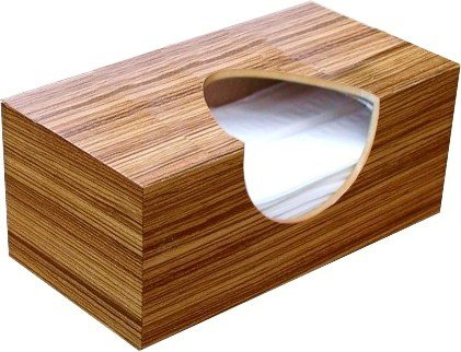Wooden Tissue Box Cover In Reconstituted Zebrawood Veneer Rectangular Regular Size. (Puffs Opening Without Bottom)