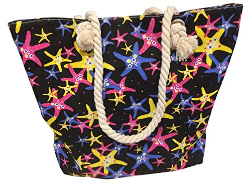 and Tote Pattern Fish Bag Zip Star Rope Top Black Handle Coloured Beach Brightly with 7BqIzCPw