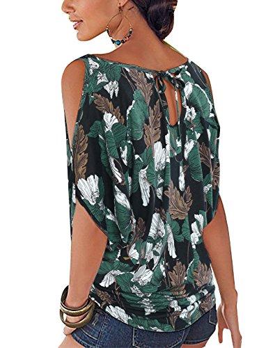 Tops avec YOINS Femme Batwing Blouse Vert Floral Dnudes Haut Ouvertes Demi Lache Noues t Col Chic paules Sexy Round Manches Imprime Hqxwq1AC