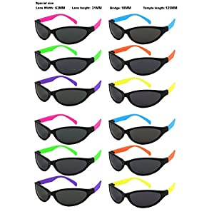 Edge I-Wear 12 Pack 80's Neon Sport Style Sunglasses with 100% UV Protection ( Made in Taiwan) 5460R/SET-12(ASST)