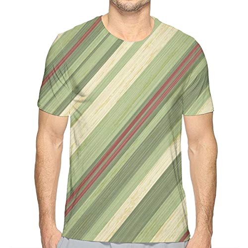 3D Printed T Shirts,Red Green Diagonal Stripes On Old Aged Design Grungy Background Abstract Print
