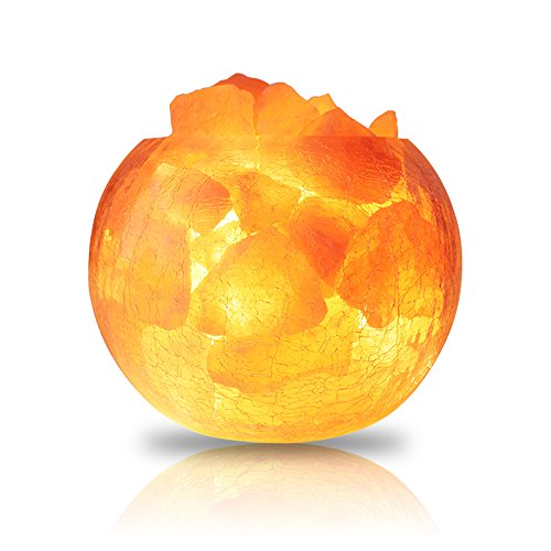 ElementDigital Himalayan Salt Lamp Cracked Crackle Glass Air Purifying Glass Bowl Natural Himalayan Crystal Salt Chunks Desk Lamps Salt Light Salt Rock Lamps Table Lamps Bedroom Home Lighting