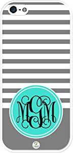 iZERCASE Monogram Personalized Grey Stripes Pattern with Turquoise Circle iPhone SE/iPhone 5S case - Fits iPhone SE, iPhone 5S T-Mobile, AT&T, Sprint, Verizon and International (White)