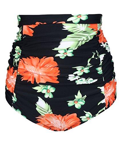 Eidlvais Women's 50s Retro Bikini Swimsuit Swimwear Bathing Suits Bottoms Separates Black Floral Size L
