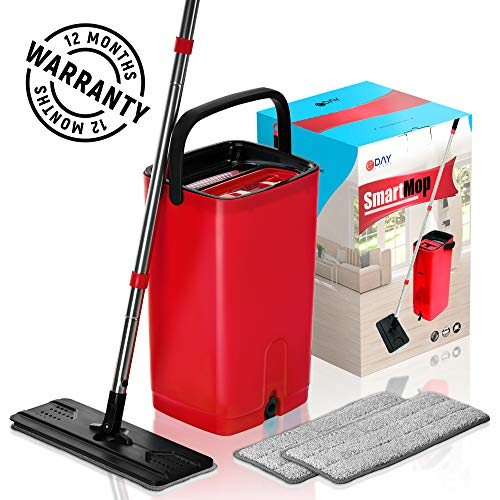 (E-Day Smart Flat Mop Bucket with Wringer for Home Kitchen Floor Cleaning - Microfiber Mop System with Bucket and 2 Washable Mop Pads - Dry or Wet Floor Mop Set with Self-Cleaning System - Red)
