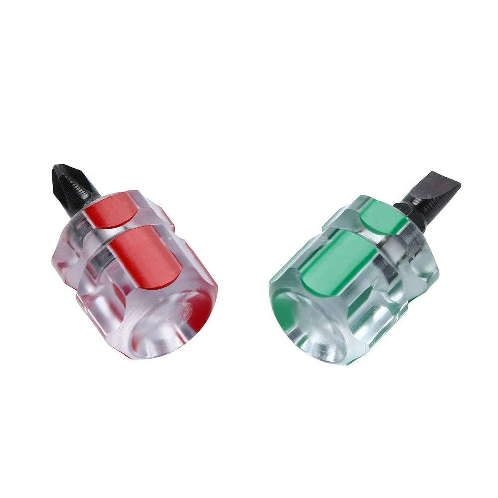 Xindda 2pcs/Set Mini Short Stubby Phillips Slotted Screwdriver Tools Kit Set Useful by Xindda (Image #3)