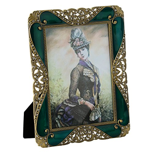 WorldWide Selection Home - Metal Photo Frame/Picture Frame, 5 x 7 inch, Real Clear Glass Front Cover, Vintage European Retro Style, Bronze Patina Plated, Tabletop Horizontally or Vertically