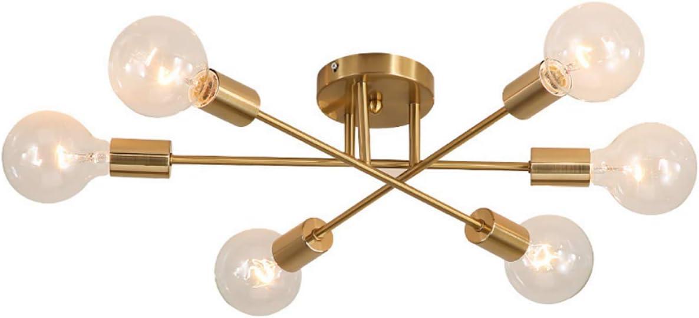 GDLight Magic Beans - 6 Luces Luz de Techo Moderna lámpara de ADN Molecular Accesorio de iluminación para la Sala de Estar Isla Dormitorio, Dorado (sin Bombillas)