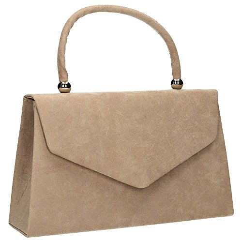 1 Womens Prom Wocharm Folds Handbag Suede Ladies Evening Bag Khaki Shoulder Clutch Clutch Bag party velvet Bridal gwwZTdq