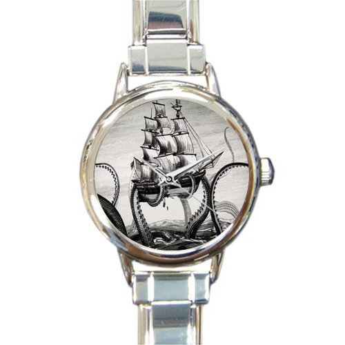 Personalized Watch Kraken Octopus and Sailboat Round Italian Charm stainless steel - Boat Charm Italian