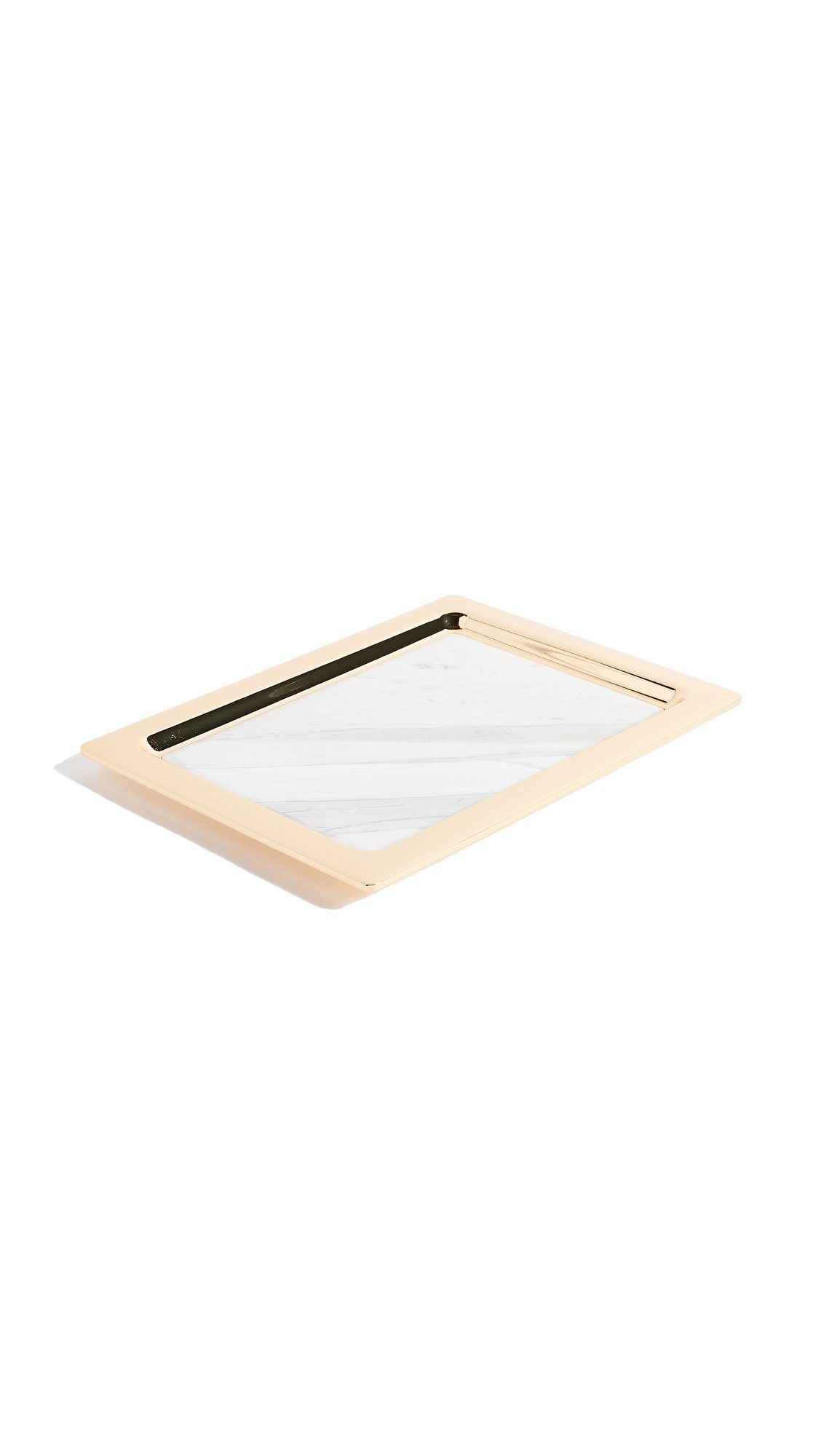 Gift Boutique Women's Dual Marble Tray, White Marble/Gold, One Size