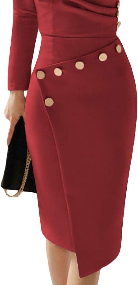 Hotgreenpepper Womens Asymmetric Button Khaki Black Long Sleeve Ruched Bodycon Midi Dress