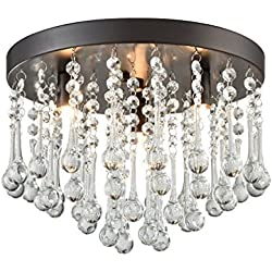 CLAXY Ecopower Vintage Flush Mount Crystal Chandelier Oil Rubbed Bronze Ceiling Fixture 3 Lights