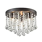 CLAXY Ecopower Vintage Flush Mount Crystal Chandelier Oil Rubbed Bronze Ceiling Fixture 3 Lights For Sale