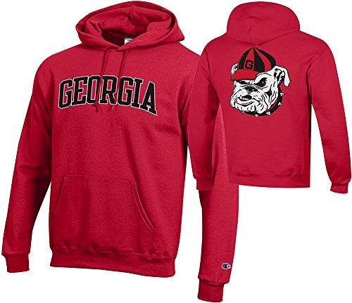 Elite Fan Shop Georgia Bulldogs Hooded Sweatshirt Red Back - L - Georgia Bulldogs Hoodie Sweatshirt