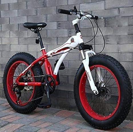 Suge Bicicletas 20 Pulgadas de montaña, Niño Niña Fat Tire MBT Bicicleta de la Bici, Doble Freno de Disco, de Alto carbón del Marco de Acero, de 7 velocidades (Color : C):