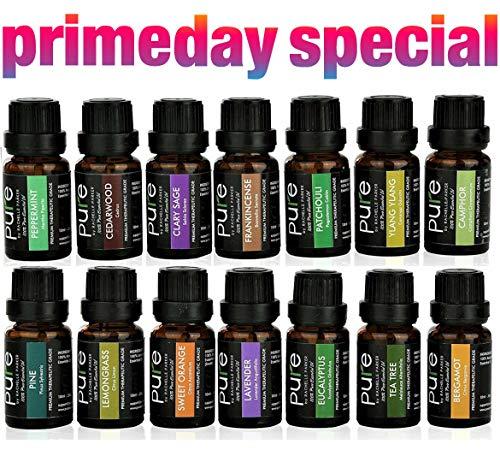 14 PURE Essential Oils Set Variety Pack. FRANKINCENSE, PATCHOULI, CLARY SAGE, BERGAMOT, LAVENDER, YLANG YLANG, CAMPHOR, CEDARWOOD, PINE, TEA TREE, LEMONGRASS, ORANGE, EUCALYPTUS, PEPPERMINT! ()
