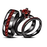 ArtLine Jewels Brilliant Cut Red Garnet 14K Black Gold Finish Engagement Ring Wedding Band Trio Set