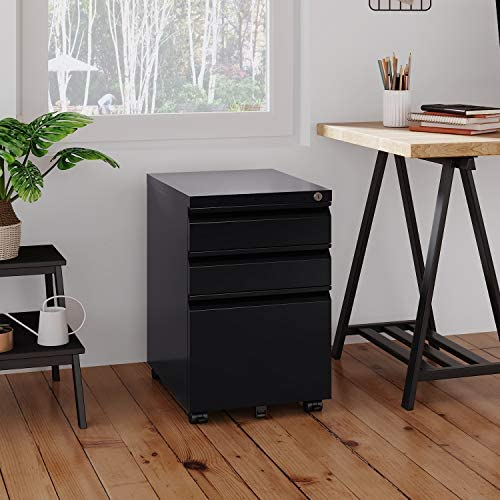 DEVAISE 3 Drawer Mobile File Cabinet with Lock, Under Desk Metal Filing Cabinet for Legal Letter A4 File, Fully Assembled Except Wheels, Black