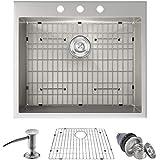 MOWA HTS2522 25' x 22' Handmade 16 Gauge Stainless Steel Top Mount Drop In Single Bowl Kitchen Sink w/Soap Dispenser, Sink Grid & Drain Strainer, 10-Inch Deep Laundry Utility Sink, Fits 27' Cabinet