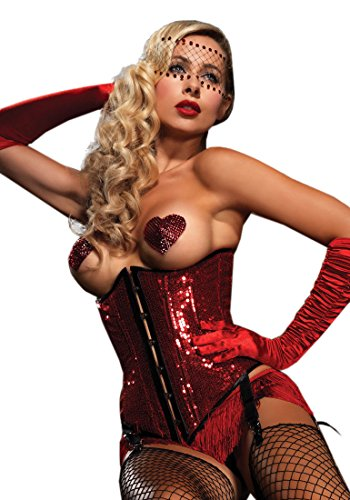 Red Sequin Underbust Corset - Leg Avenue Sequin Underbust Corset with Front Busk Closure, Red, Large